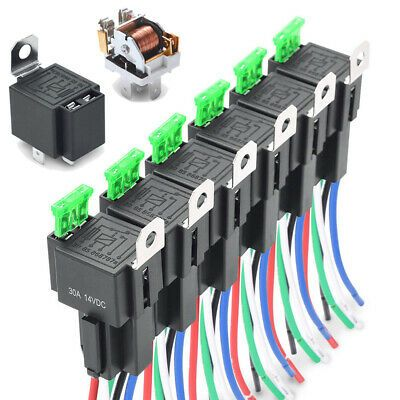 Ad Ebay Car Relay Switch Harness Waterproof 6x 4pin 12v 14awg Wires 30a Fuse Holder In 2020 Relay Waterproof Car Car Fuses