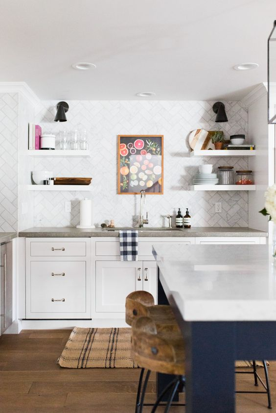 Floating Shelves, Concrete Counters, and Marble Herringbone Backsplash || Studio McGee: