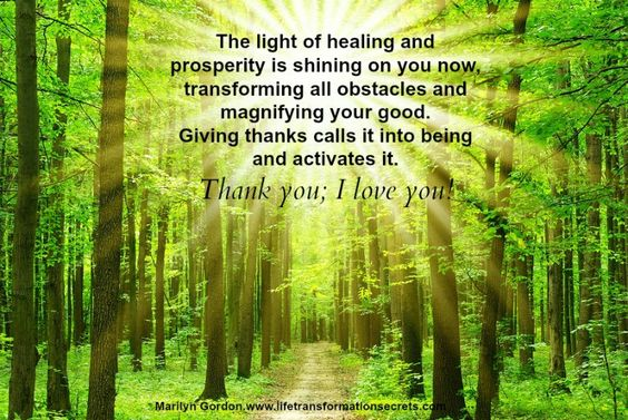The light of healing and prosperity is shining on you now, transforming all obstacles and magnifying your good. Giving thanks calls it into being and activates it. Thank you; I love you! Marilyn Gordon www.lifetransformationsecrets.com