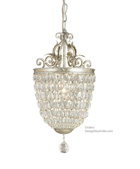 Adoration Crystal Pendant Chandelier, elaborate scroll work tops the pendent made of closely positioned crystals. Ideal where formality is needed, but chandeliers are too large. DesignNashville