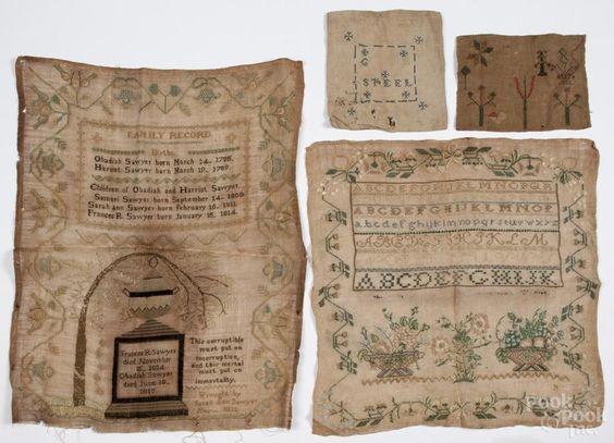 Massachusetts silk on linen sampler, dated 1821, wrought by Sarah Ann Sawyer | Bidsquare