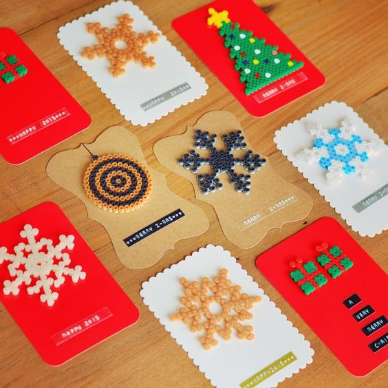 Christmas cards hama perler beads by madebyellemieke