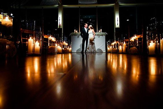 A pathway of candles can also create a romantic ambiance in the reception room as well.Photo Credit: CLB Photography/ Event Design: Jenny Orsini Events