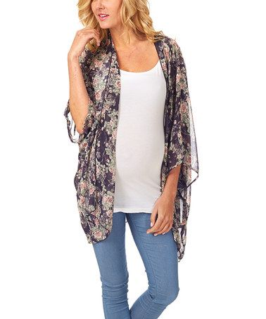 Look at this #zulilyfind! Navy Blue Floral Sheer Maternity Open Cardigan by PinkBlush Maternity, $30 !!  #zulilyfinds