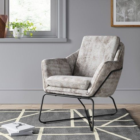 Awesome Massey Faux Fur Metal Base Accent Chair Light Gray Project Machost Co Dining Chair Design Ideas Machostcouk