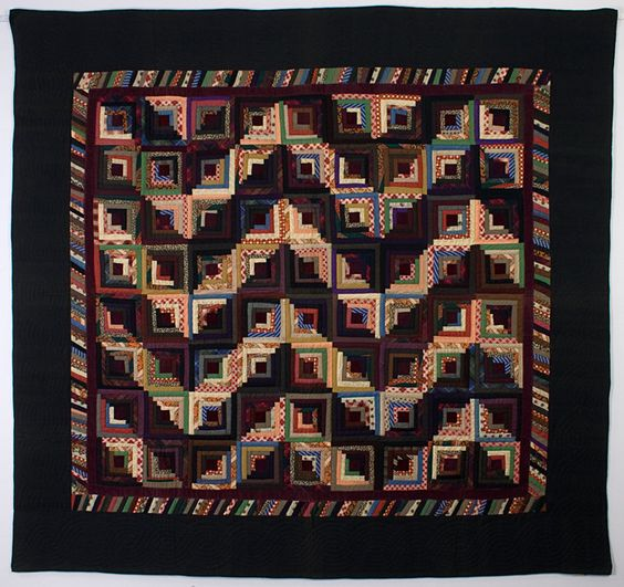Streak of Lightning Setting. Log Cabin Quilt done primarily in wools with maroon velvet centers and inner border. Circa 1880; measures 80 x 86 inches. ~♥~