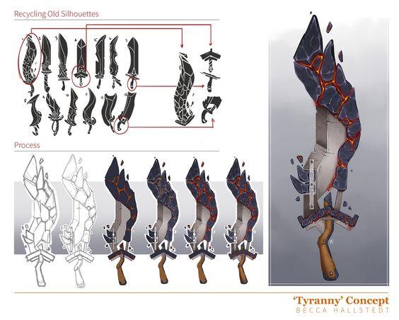 "Sword Concept with Process: ""Tyranny"", Becca Hallstedt on ArtStation at https://www.artstation.com/artwork/V8RGg"