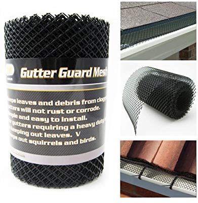 Gutter Guard Mesh 16 Ft X 6in Black Plastic 5 Quot 6 Quot Gutters Cover Easy Install Gutter Guard Gutters Gutter