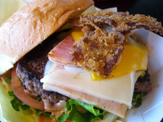 Chicken-fried bacon sits atop SandBurg's in Burleson's burger.     (part of our 11 off-the-beaten path burgers)