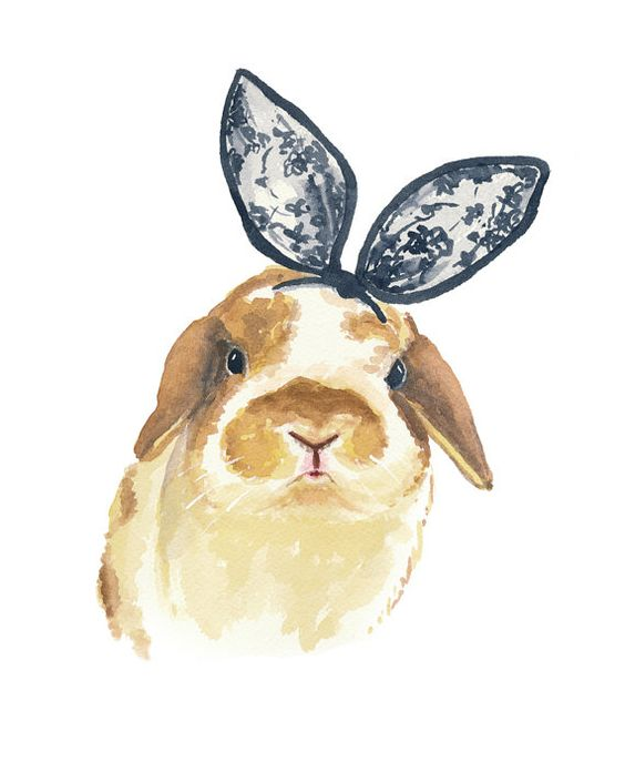 Conejo conejo imprimir acuarela - orejas de conejo, 8 x 10 pintura, acuarela Animal