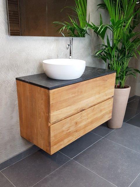 Verwonderend Massief houten badmeubel met marmer blad en keramiek waskom van YE-24