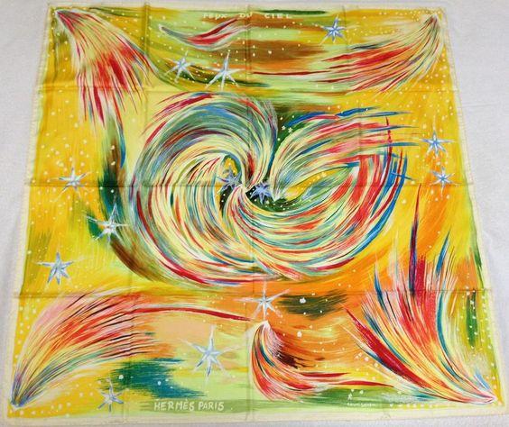 "HERMES ""Feux du Ciel"" by Sefedin Ibrahim Alamin Yellow Silk Scarf"