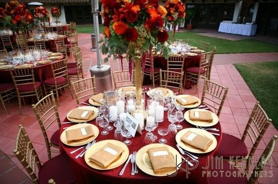 Burgundy Amp Gold Wedding Table Setting Married To The