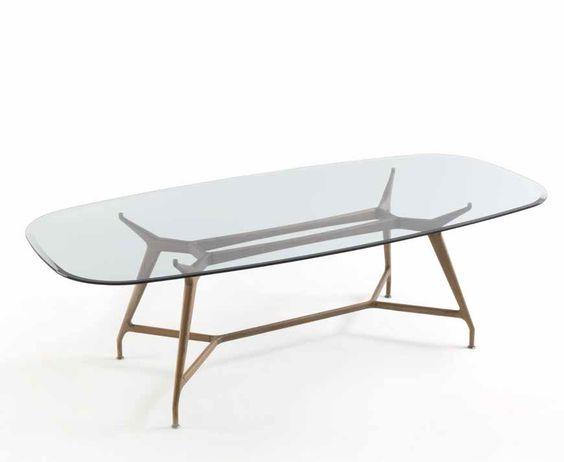 Mesa ovalada mirabeu con las patas en madera y tapa de for Mesa cristal ovalada