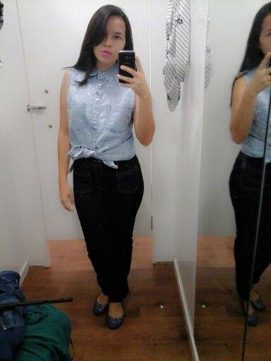 Calça jeans + Colete jeans♡