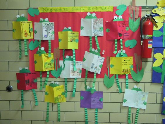 Have students choose a favorite book and make a cover of that book. Using green construction paper, students will cut out a frog head, hands, and legs. Fold the legs accordion style and add feet. Glue the head, hands, and legs to the books and hang on the bulletin board. Create lily pads to add to the bulletin board.