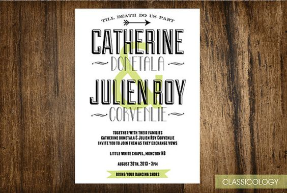 Modern Typography Wedding Invitations  Printable by Classicology, $15.00