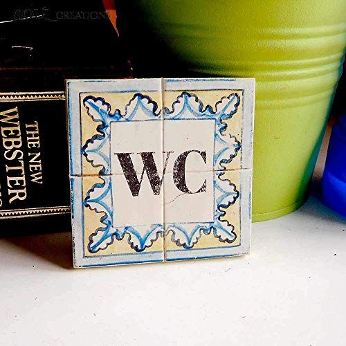 Colourful Shabby Chic Vintage SIGN TOILET OCCUPIED dekoschild Door Sign Blue for