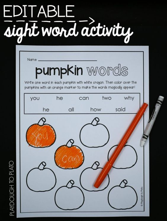 Number Names Worksheets fun activity for kindergarten : Activities for kindergarten, Pumpkins and Fall on Pinterest