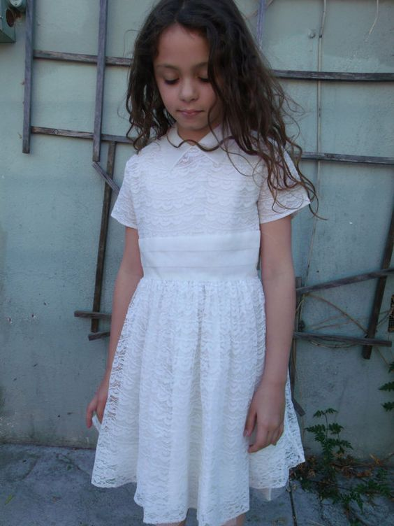 Vintage 50&-39-s 60&-39-s White Lace Dress. Little Girls Size 8 Wedding ...