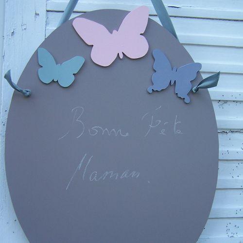 Ardoise ovale peinte à la main zinc et 3 papillons colorés