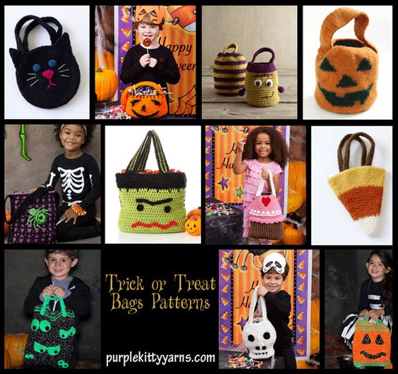 Free Crochet Patterns For Trick Or Treat Bags : Halloween treat bags, Treat bags and Halloween treats on ...