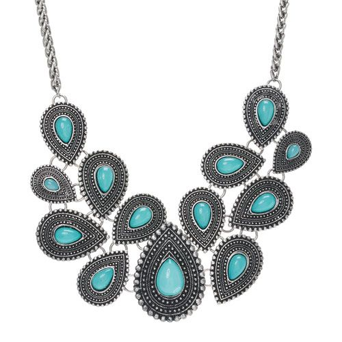 Turquoise and Silver Medallion Bib Necklace