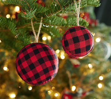 Red Buffalo Check Ball Ornament Potterybarn Christmas