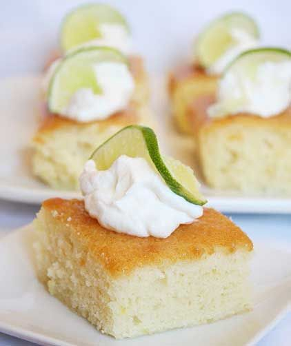 Margarita Cake: butter, white sugar, whipped cream, lime juice, water, glaze, granulated sugar, lemon juice, all-purpose flour, large eggs, grated lemon zest, baking soda, salt, white sugar, butter, baking soda, salt, large eggs, grated lemon zest, lemon juice, all-purpose flour, yoghurt, granulated sugar, lime juice, water, tequila