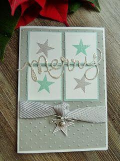 Weihnachtskarte mit Simply Stars, Thinlits Formen Worte