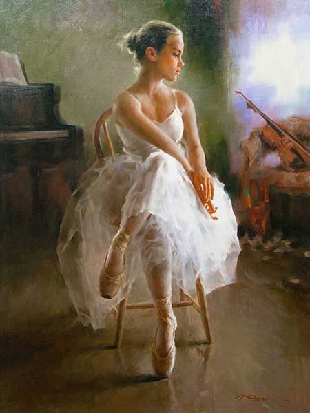 Stephen Pan (Chinese, born 1963) Oil, Seated Ballerina, Signed, 99 x 73