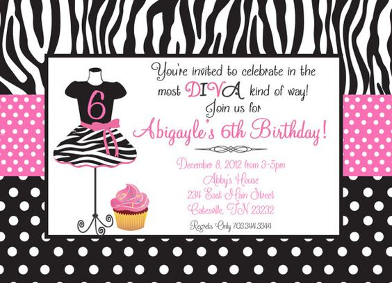 Wedding Invitation Diva: Zebra Cupcake Fashion Diva Birthday Printable Invitation