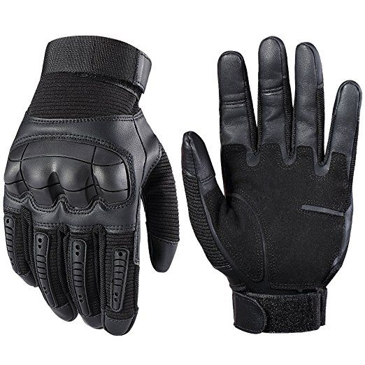Full Finger Leather Touch Screen Motorcycle Gloves Yellow, Medium
