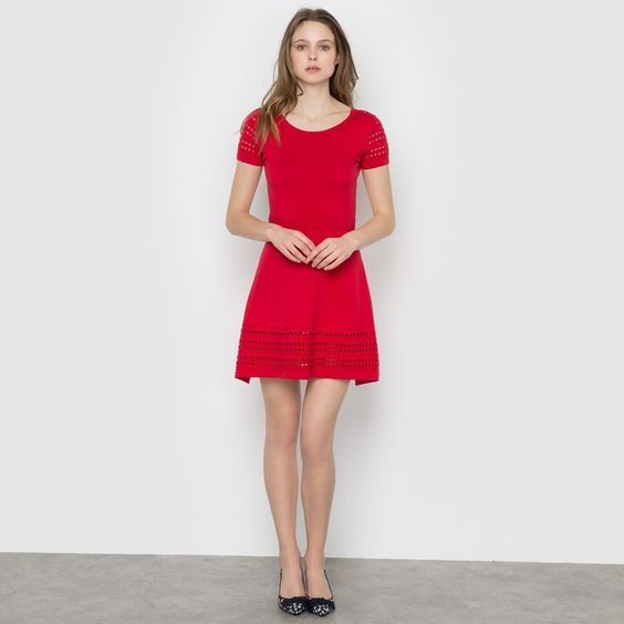 Love this! | Short-Sleeved Dress with Openwork Detail SUNCOO | laredoute.com