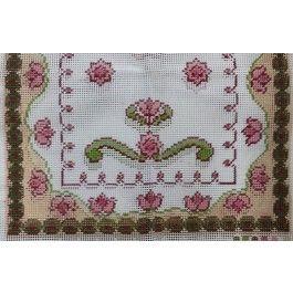 Passadeira Flores Rosas e Arabescos Verdes 60x150cm