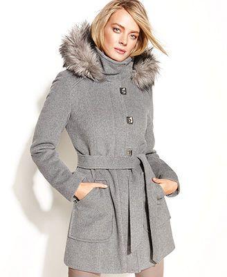 Calvin Klein Petite Wool-Blend Hooded Tie-Waist Coat (Originally ...