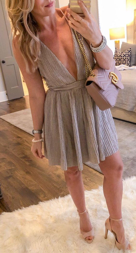 gray sleeveless mini dress #spring #outfits