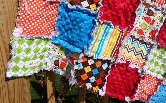 Rag Quilt Crib Blanket Owl Quilt Owl Baby Bedding by WatchMyDive, $110.00