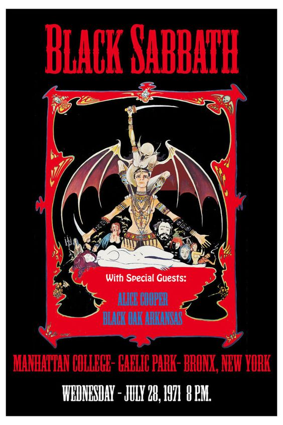 ☮ American Hippie Music ~ Black Sabbath Concert Poster .. 1971