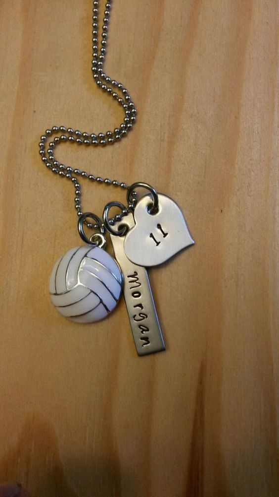 Hand Stamped Personalized Volleyball Necklace