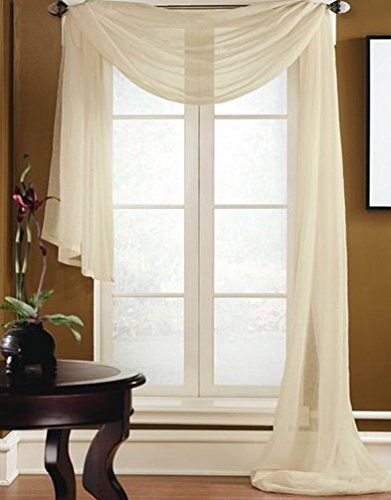 Gorgeous Home 1 Pc Solid Beige Scarf Valance Soft Sheer