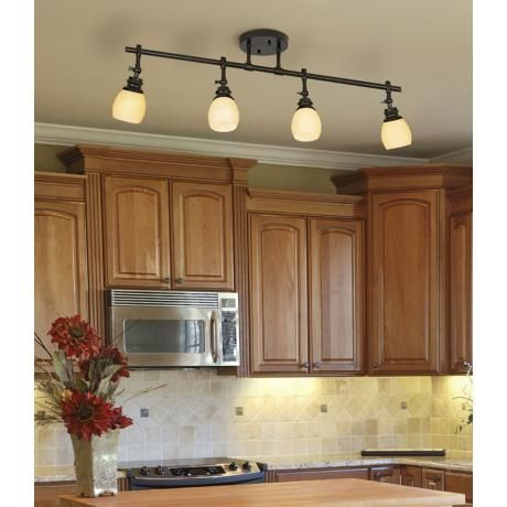 Elm Park 4Head Bronze Track Wall or Ceiling Light Fixture  Small kitchen lighting, Cabinets