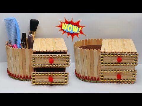 Rak Make Up Cantik Dari Stik Es Krim Kreasi Popsicle Stick