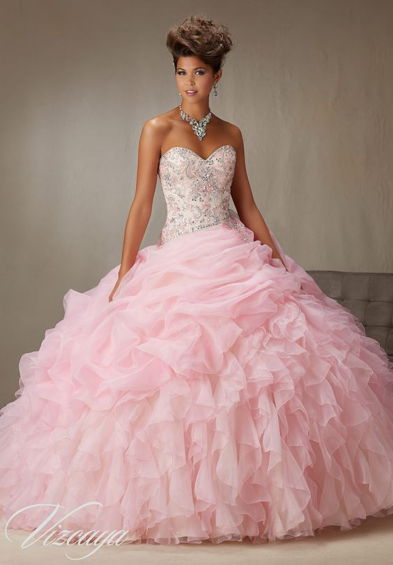 Quinceanera dresses by Vizcaya Billowy Ruffled Organza Skirt with ...