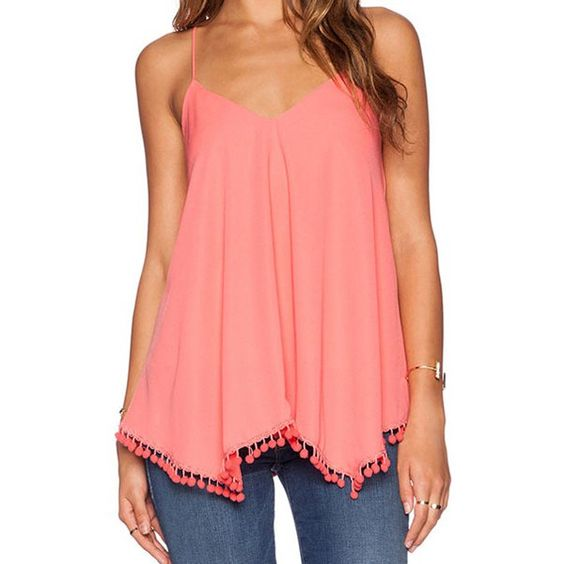 Wholesale Sexy Spaghetti Strap Solid Color Chiffon Women's Tank Top Only $3.97 Drop Shipping | TrendsGal.com