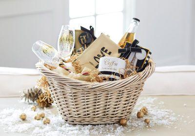 Panier-cadeau doré traditionnel: