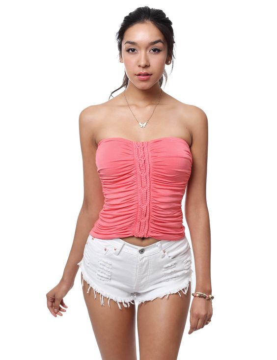 Sexy Coral Jersey Cropped Tube Top with Braided Shirring Detail Front #11foxy