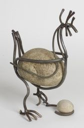 Handmade Steel & River Rock Hen Garden Sculpture: