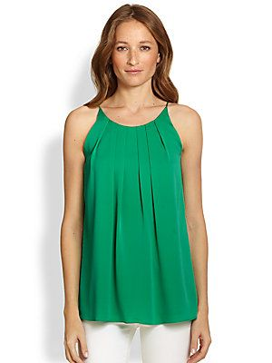 MILLY Pleated Stretch-Silk Tank