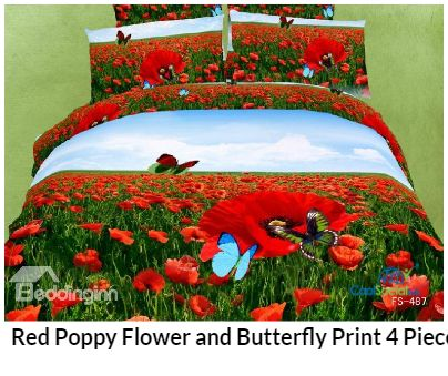Red Poppy Flower and Butterfly Print 4 Piece Beddi for more details visit http://coolsocialads.com/red-poppy-flower-and-butterfly-print-4-piece-beddi-05730